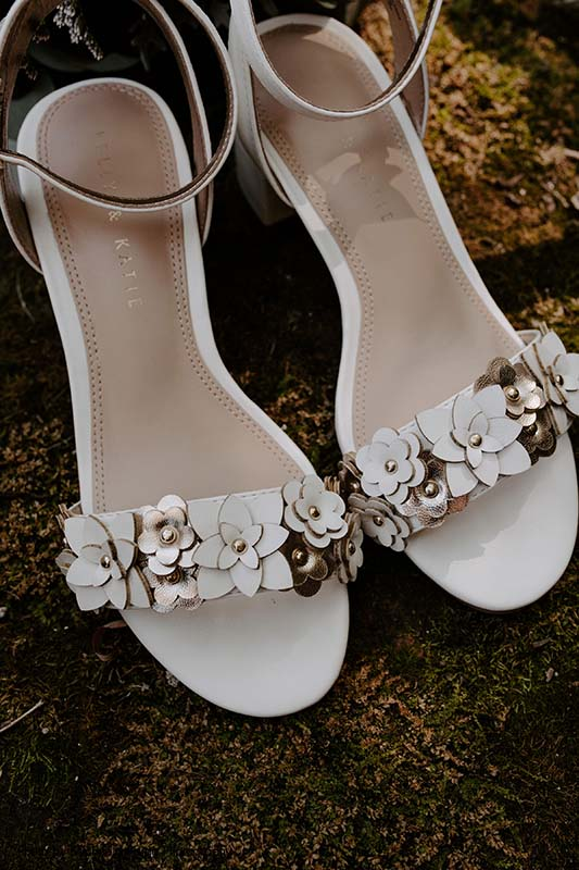 White and gold floral bridal shoes