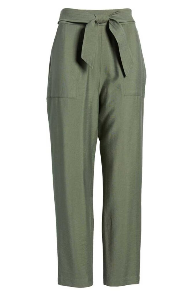 Olive green tie waste pants by Leith