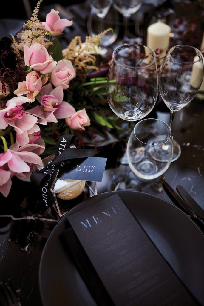 Wedding menu with black paper and black ink
