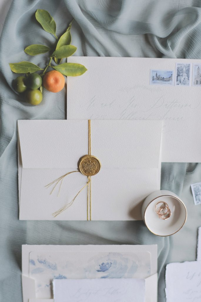 White wedding invite made with cotton paper