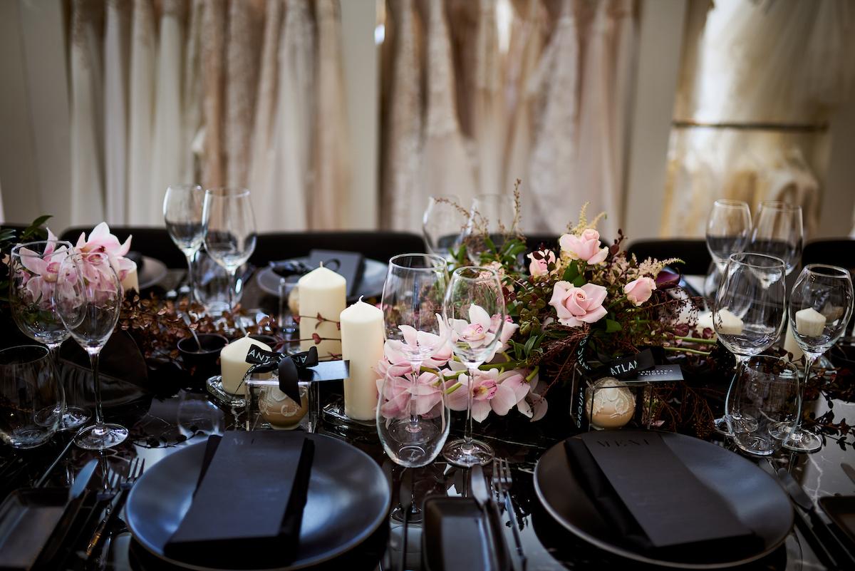 All black wedding decor