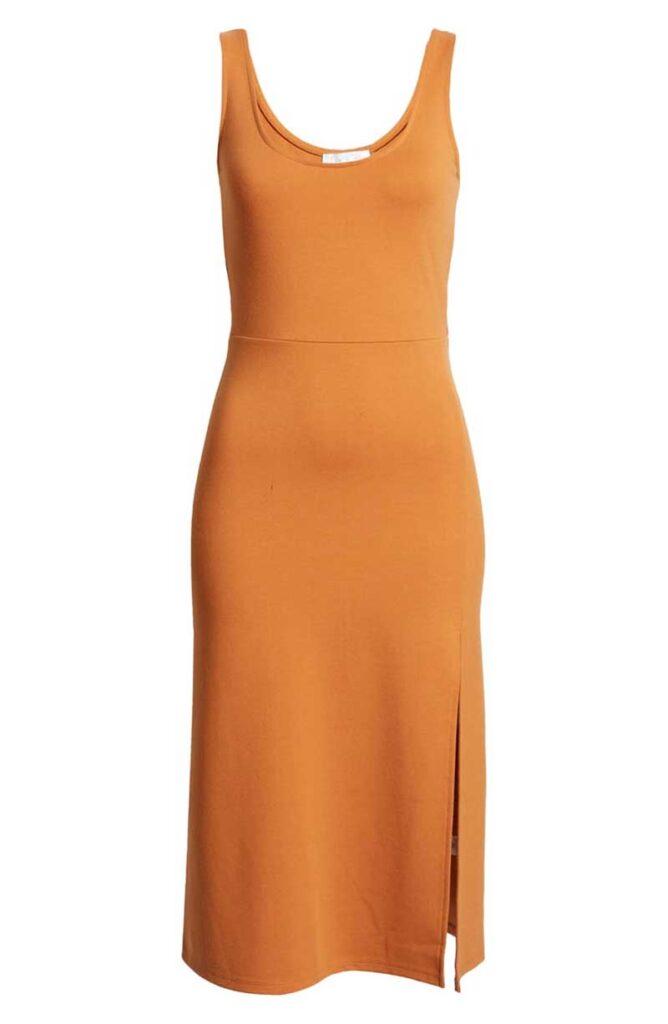 Orange scoop neck dress by Leith for honeymoon