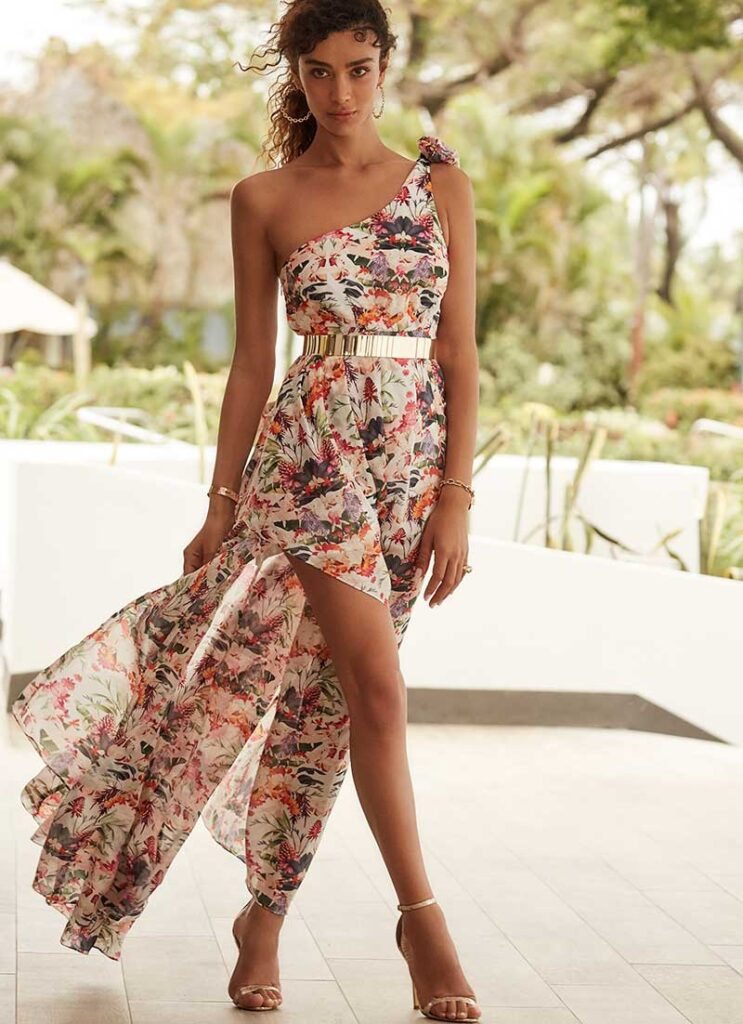 Floral, flowy dress by Aqua Blu for what to wear for bridal shower
