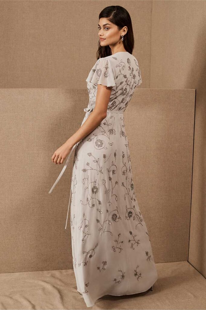 White boho floral BHLDN bridesmaid dress