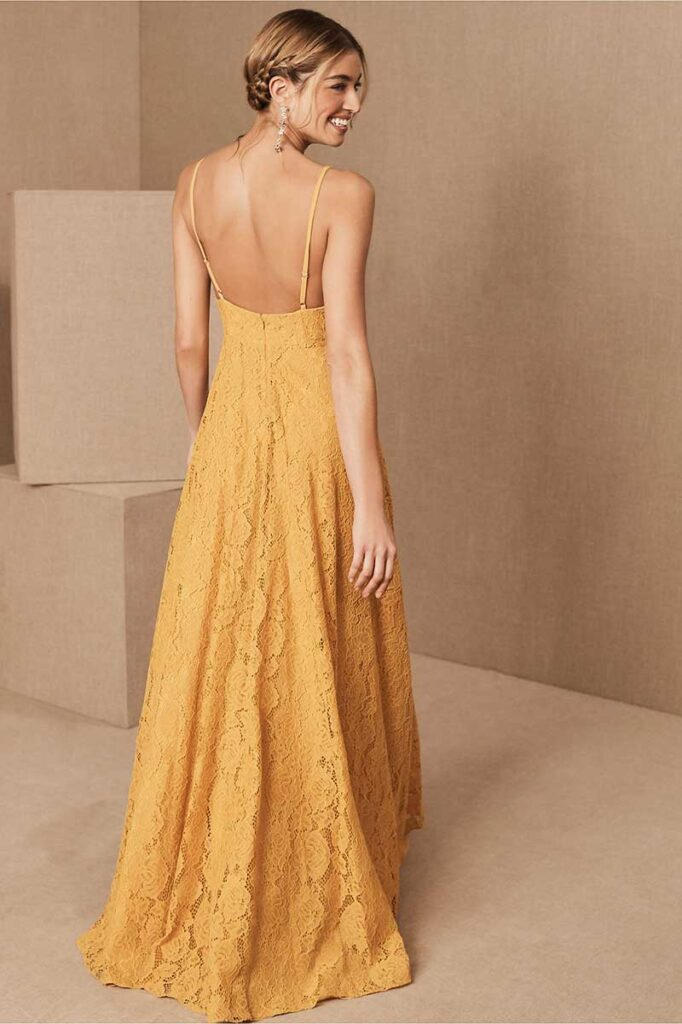 Marigold lace bridesmaids dress by BHLDN