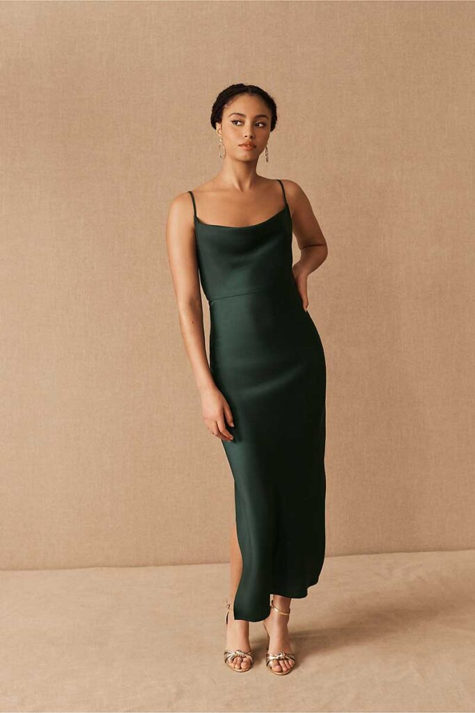 Dark green charmeuse midi bridesmaid dress by BHLDN