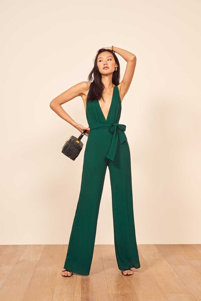 Emerald green jumpsuit by Reformation to wear at bachelorette