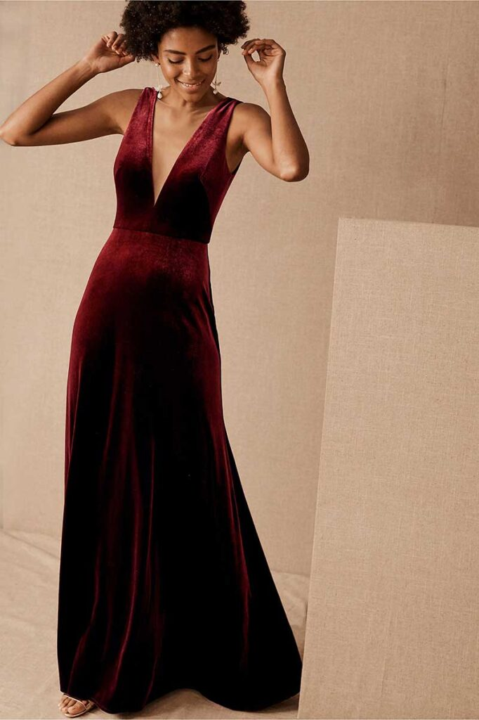Dark berry velvet bridesmaid dress by BHLDN