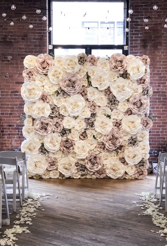 Paper flower photo booth backdrop by New York Paper Flowers