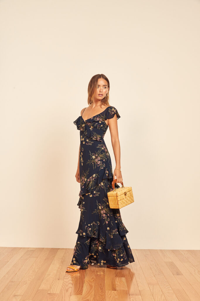 Navy floral pritnt maxi dress by Reformation