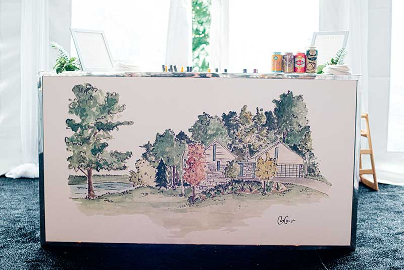 Custom watercolor painting wedding bar front by BeThings Rentals