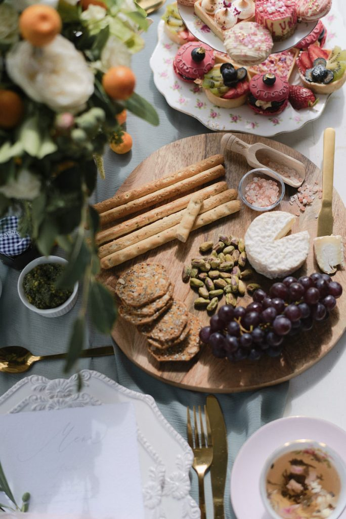 Artisan bread and crackers as wedding appetizer