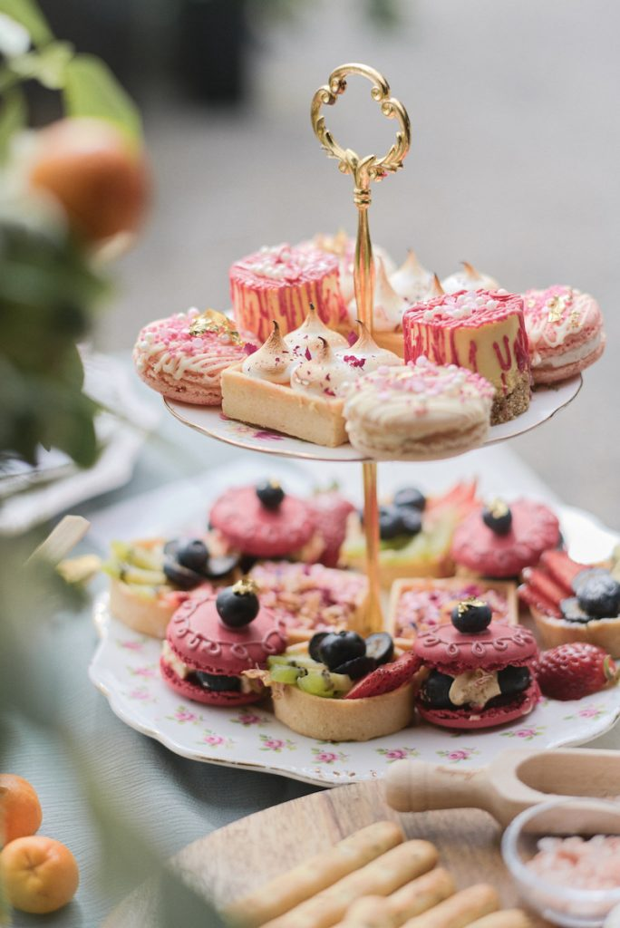 Tartlets and macaroons as wedding dessert