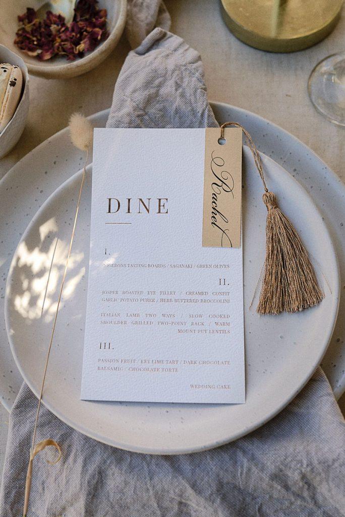 Cotton wedding dinner menu embossed in marron