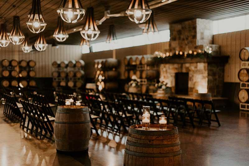 Wine cellar wedding ceremony
