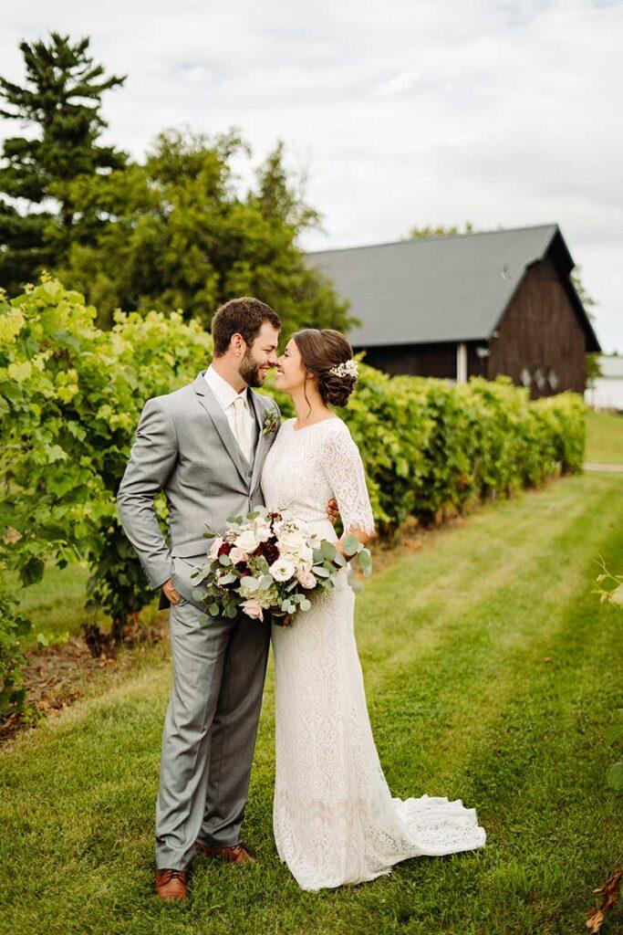 Minnesota bride and groom marry in vineyard