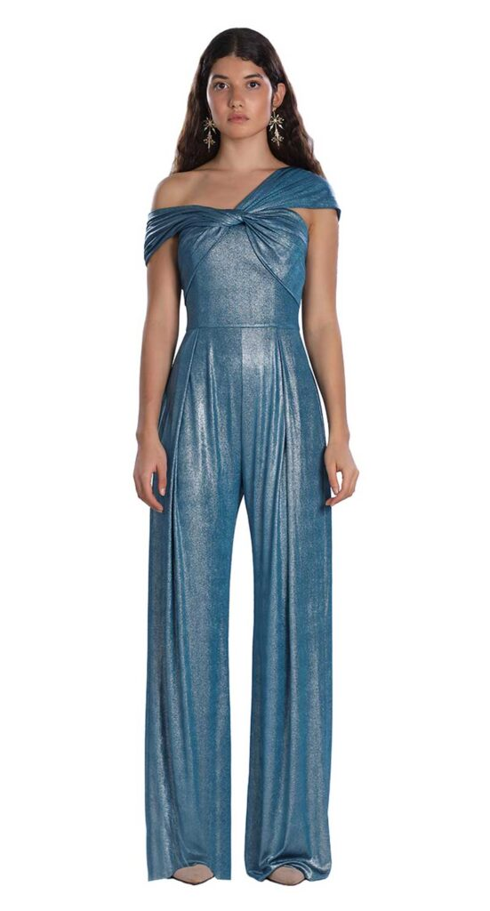 Metallic blue jumpsuit what to wear for your bridal shower