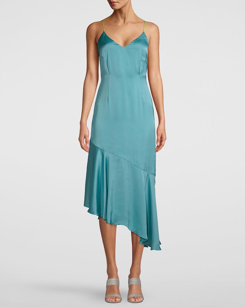 Teal asymmetrical dress for fall wedding by White House Black Market