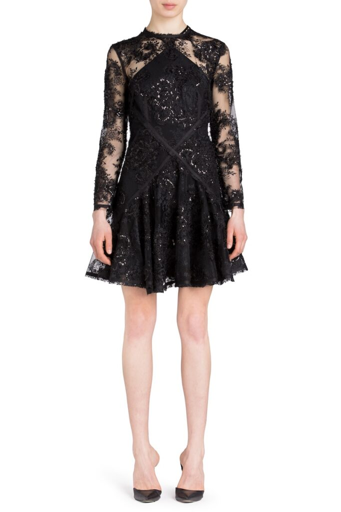 Black lace mini dress for fall wedding by UNTTLD