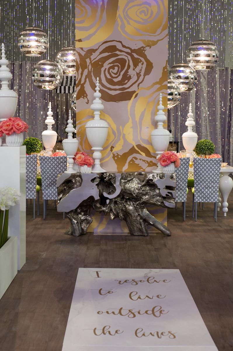 Kate Spade-inspired wedding ceremony setup