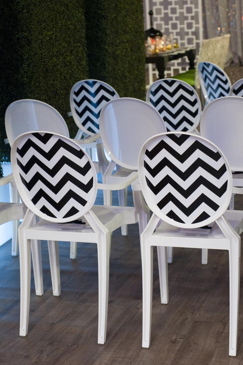 Black and white chevron pattern wedding chairs