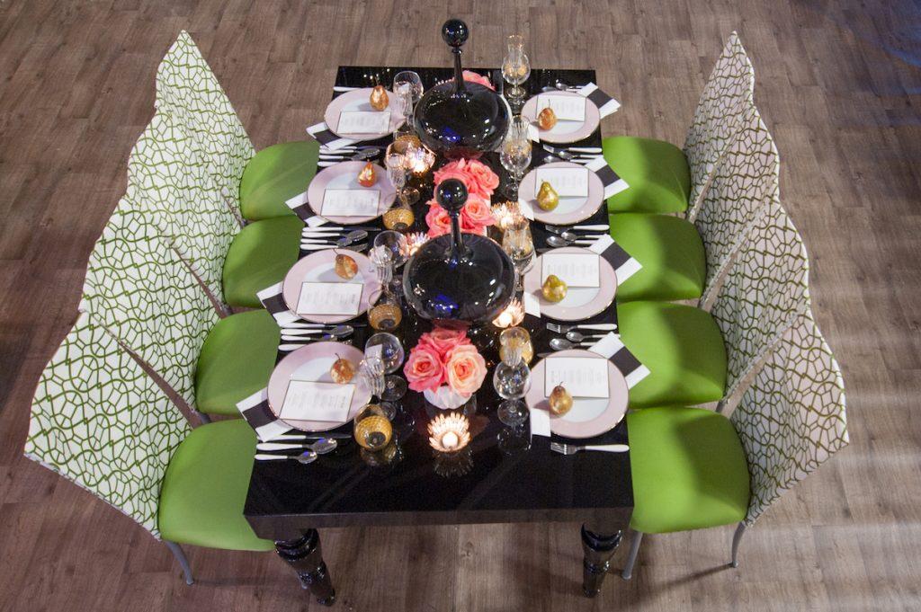 Black acrylic wedding table