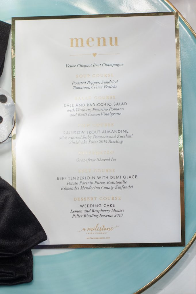 Black white and gold wedding menu