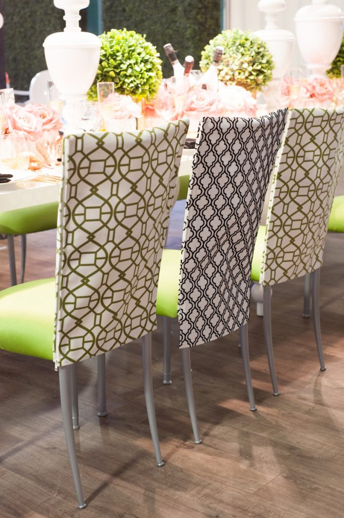 Wedding chairs with patterned chair covers