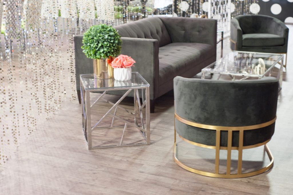 Wedding lounge area with gray furniture