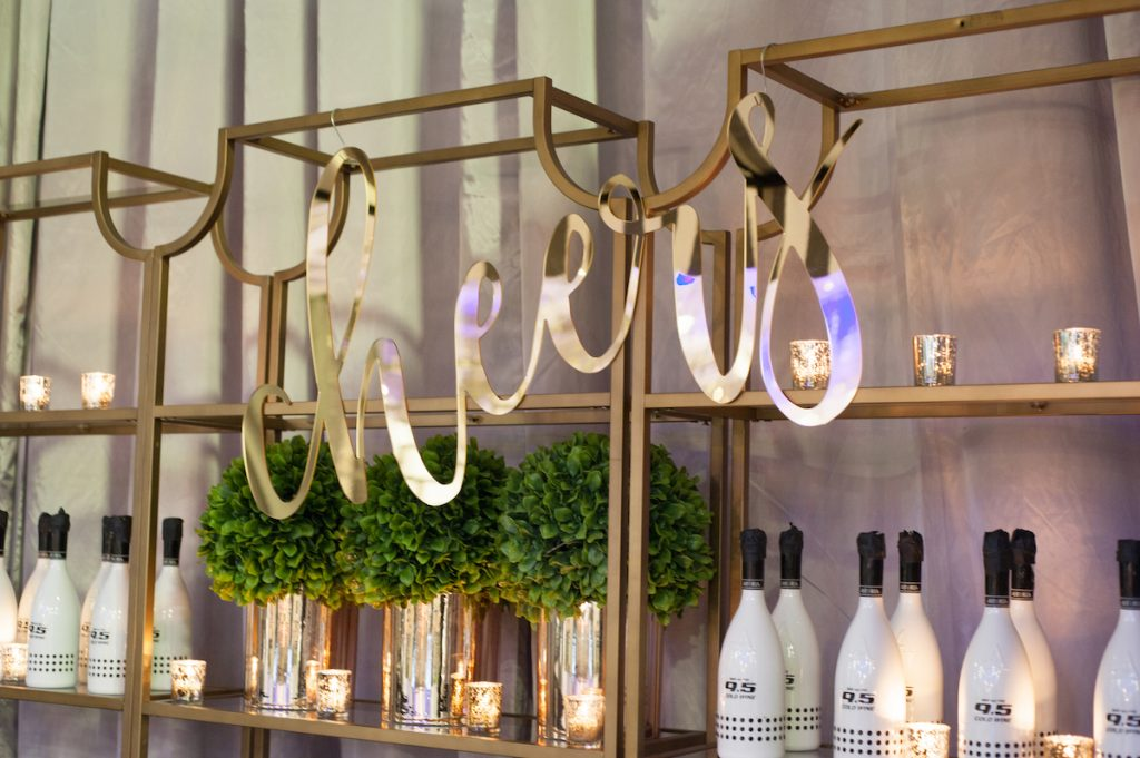 Gold cheers sign for wedding bar