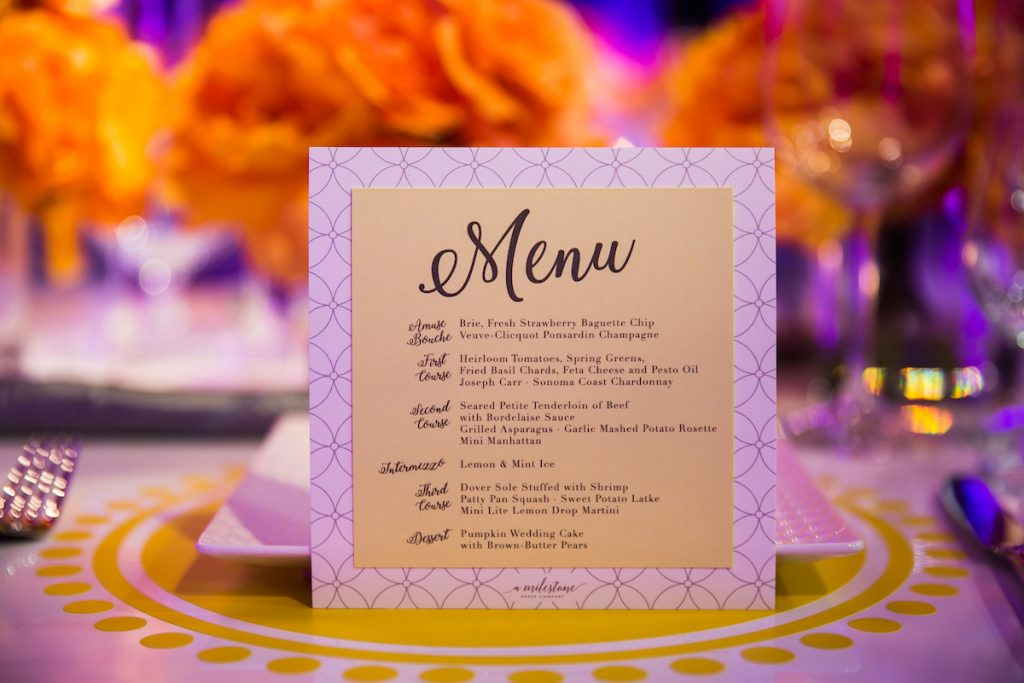 Square yellow wedding menu