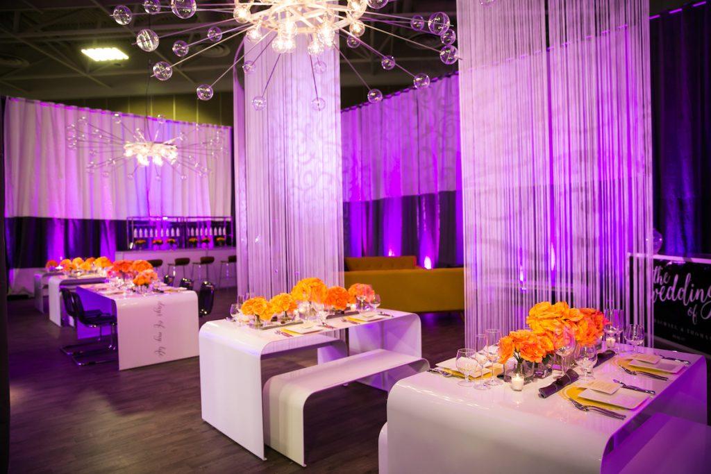 Wedding lighting with sprocket chandelier