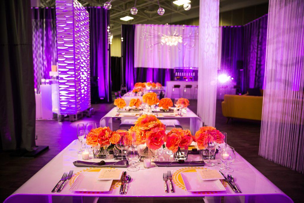 Bright orange floral centerpieces