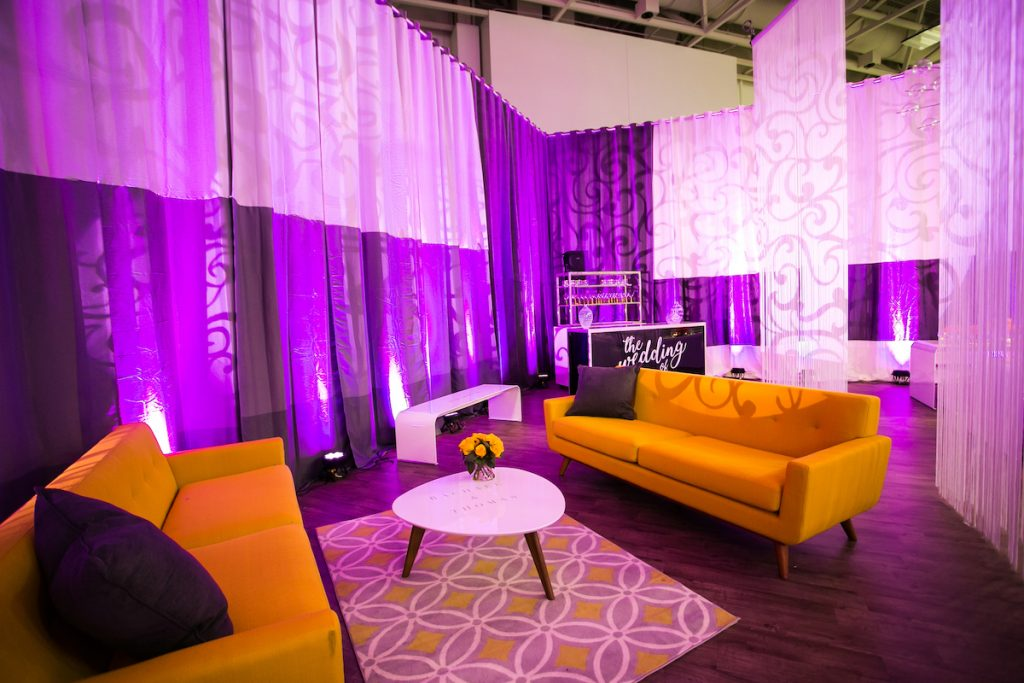 Wedding lounge with mid-century furniture