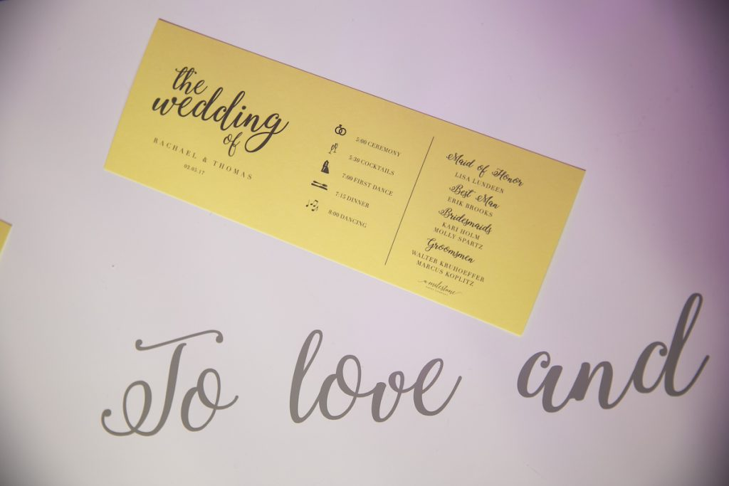 Yellow wedding menu