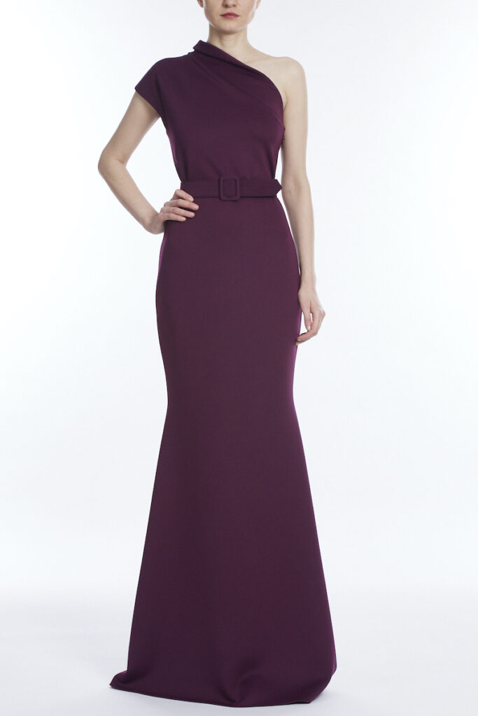 Wine colored floor length gown what to wear for fall wedding