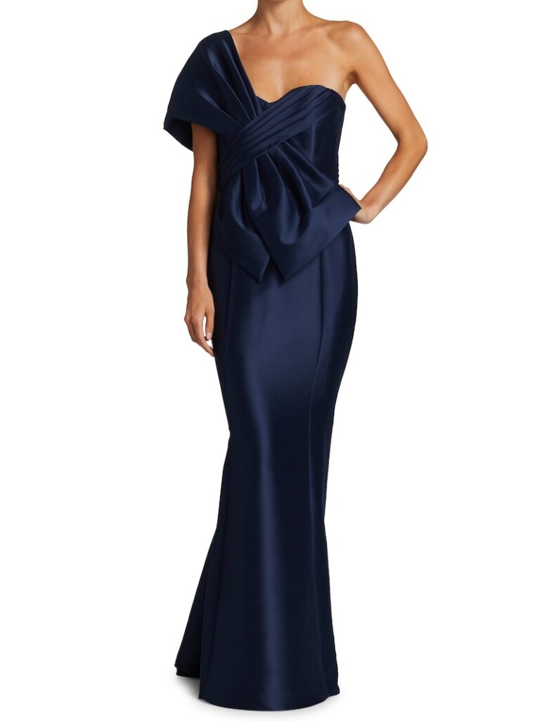 Navy floor length gown for formal fall wedding by Badgley Mischka