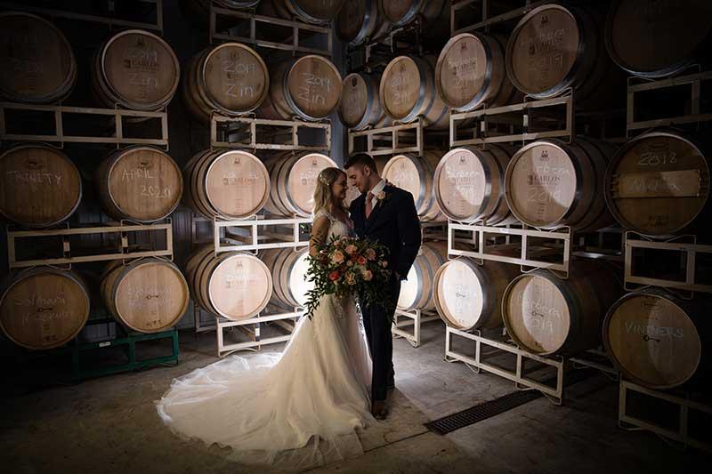 Bride and groom marry at Bold North Cellars vineyard