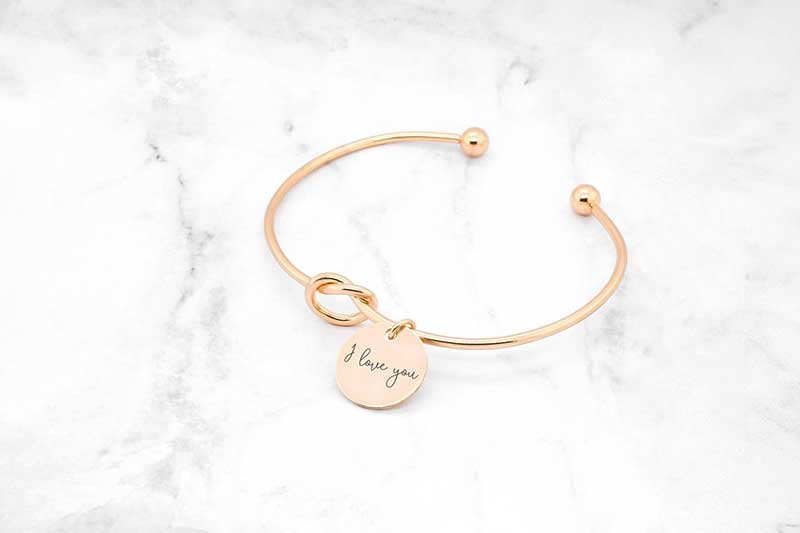 "Rose gold bracelet with ""I love you"" engraved by Sincerely Silver"