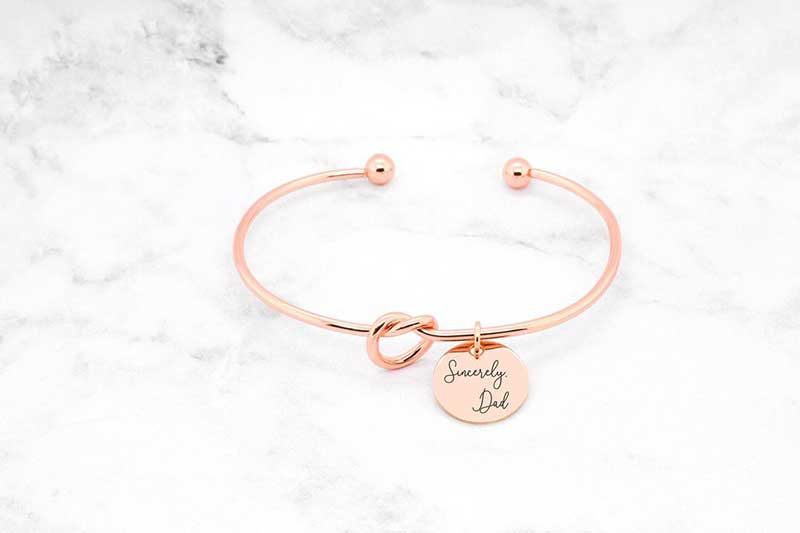 "Rose gold bracelet engraved with ""Love, Dad"" by Sincerely Silver"