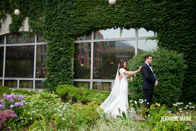 Bride and groom share first look outside of Minnesota luxury wedding venu