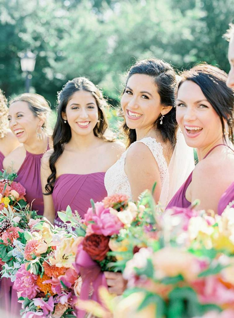 Bridal party shows of wedding day makeup