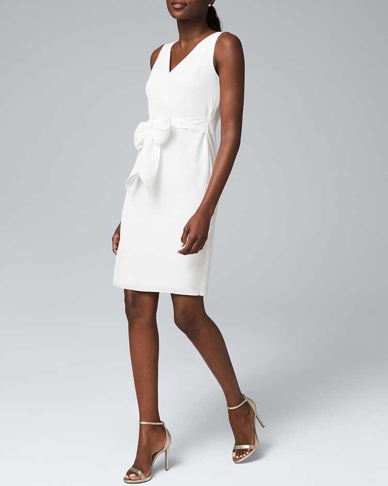 Short white bridal shower dress by White House Black Market