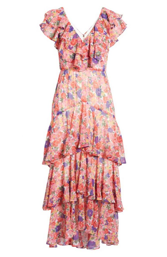 Pink floral ruffal maxi dress for rehearsal dinner by Nordstrom