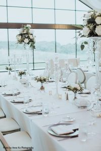 Airy and white elegant Minnesota wedding reception setup