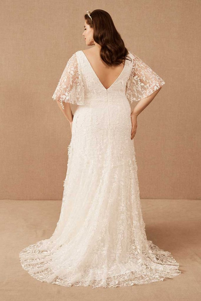 Bohemian gown with sleeves Jenny Yoo Lourdes gown for BHLDN Plus Size Line