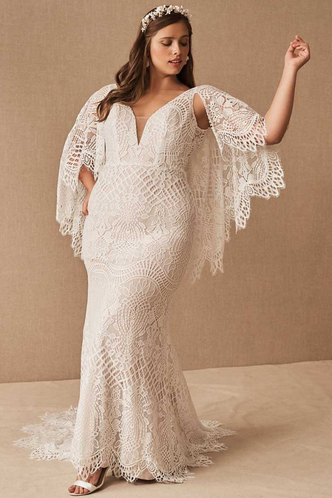 Bohemian graphic lace BHLDN Plus Size Odalis Gown