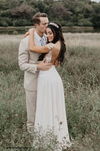 Minnesota couple following wedding ceremony