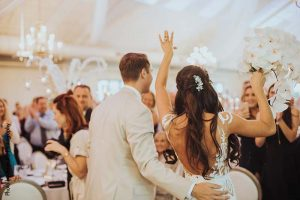 Bride and groom enter elegant Minnesota wedding reception