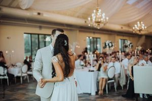 Bride and groom share first dance at Bavaria Downs wedding venue